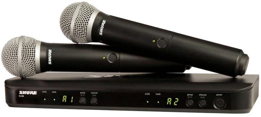 Bộ thu và phát đôi kèm micro không dây cầm tay Shure BLX288A/SM58