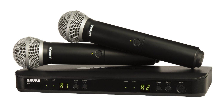 Bộ thu và phát đôi kèm micro không dây cầm tay Shure BLX288A/PG58